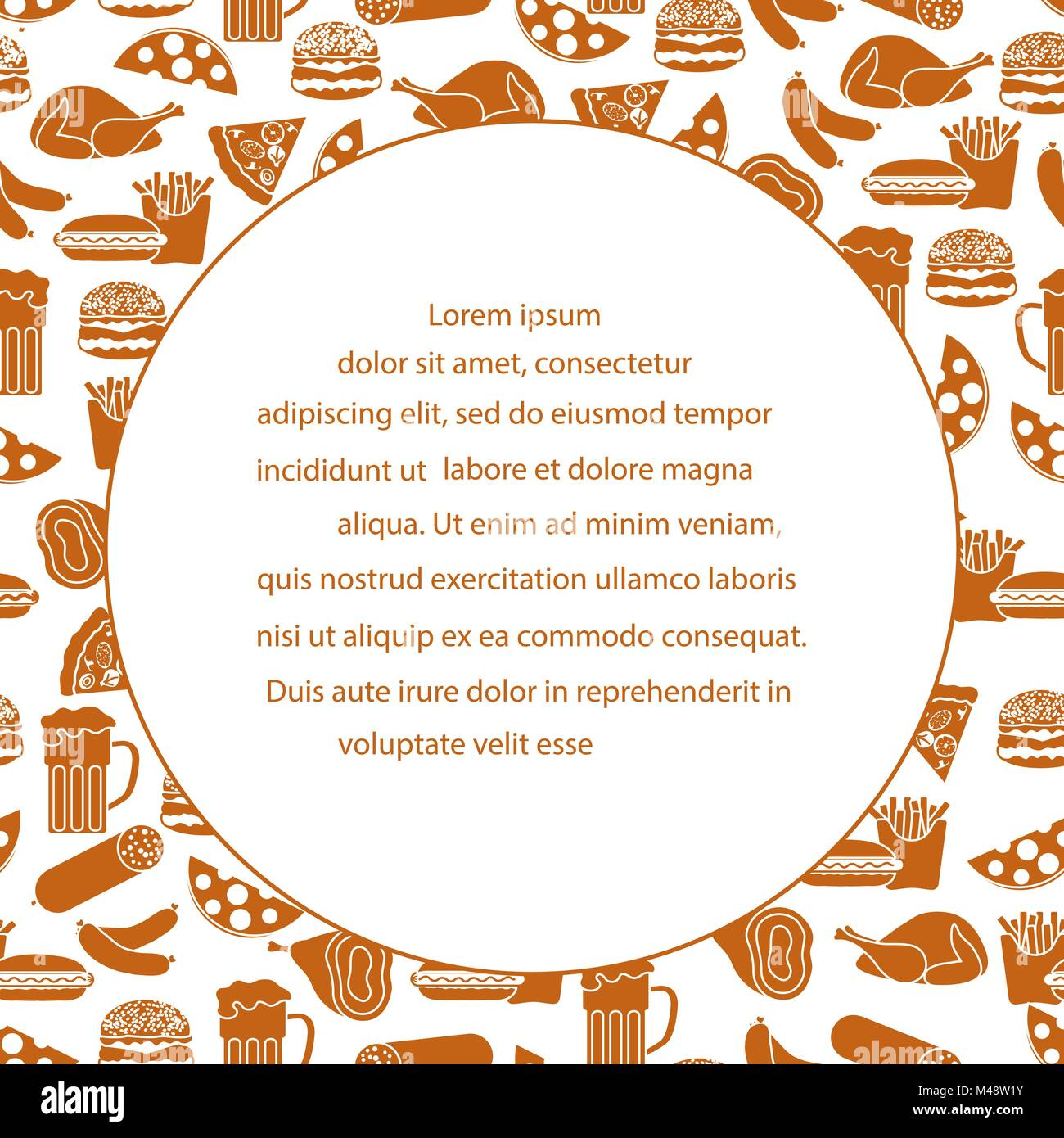 beer different types of food and fast food design for banner and
