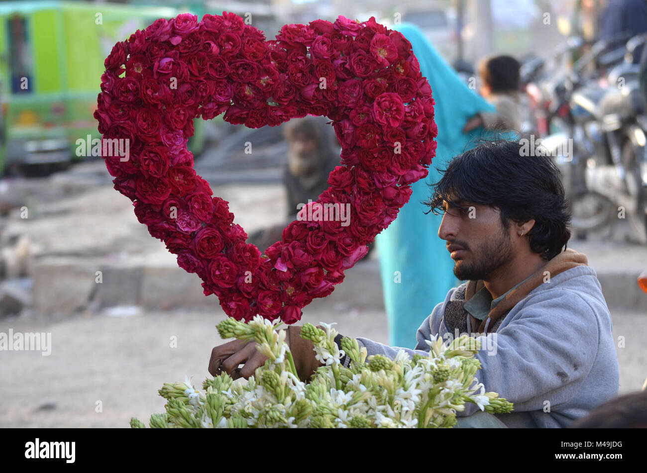 Pakistani People Purchasing Fresh Roses Flowers Bouquets And