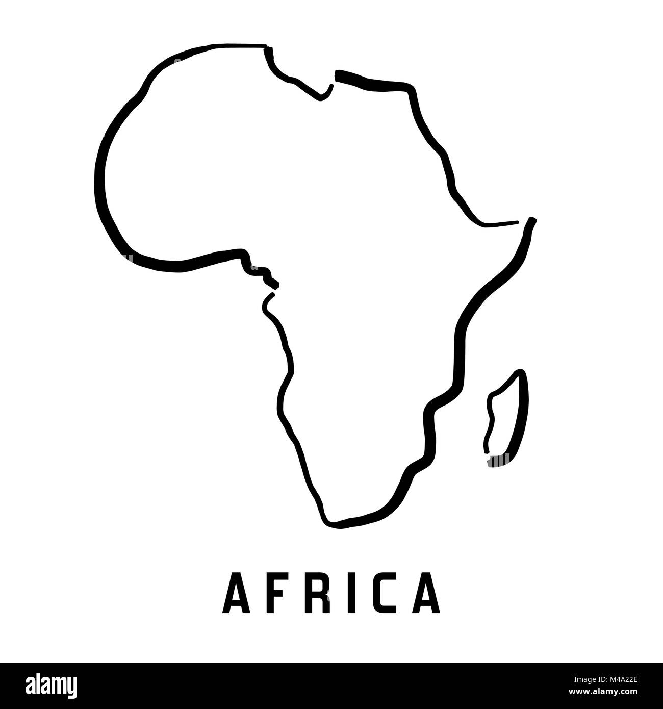 Shape Of Africa Map.Africa Simple Map Outline Smooth Simplified Continent Shape Map