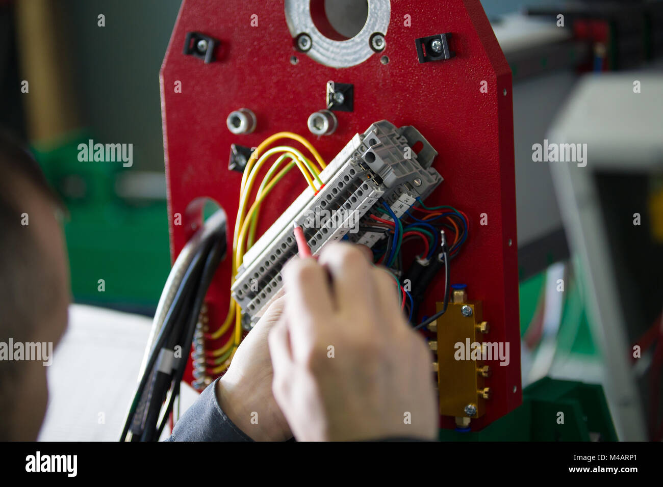 work of electrician engineer switching and testing equipment with rh alamy com