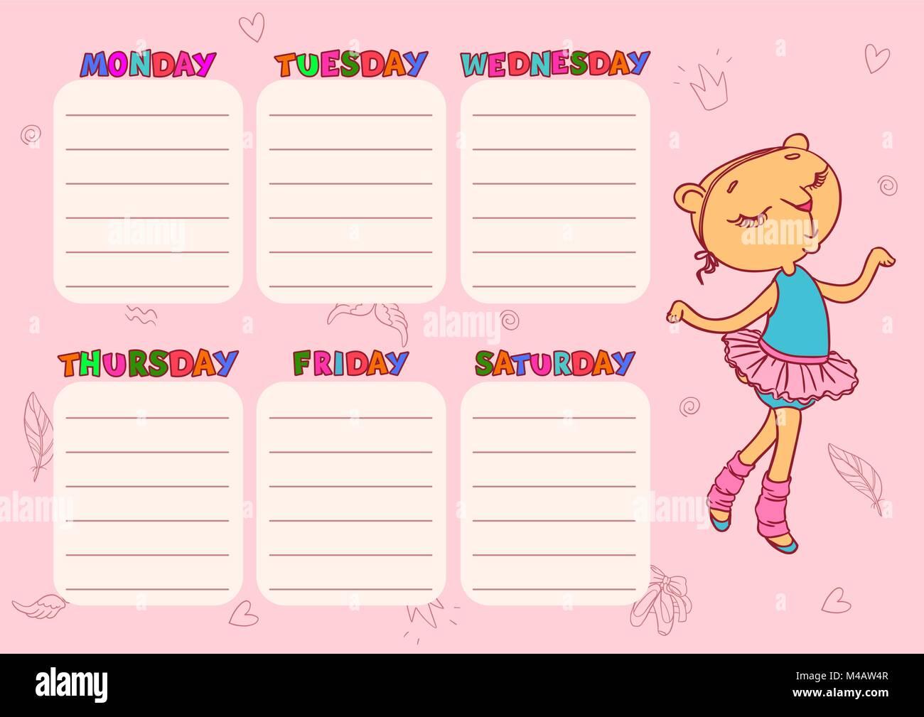 cute school schedule template with cat girl vector printable stock