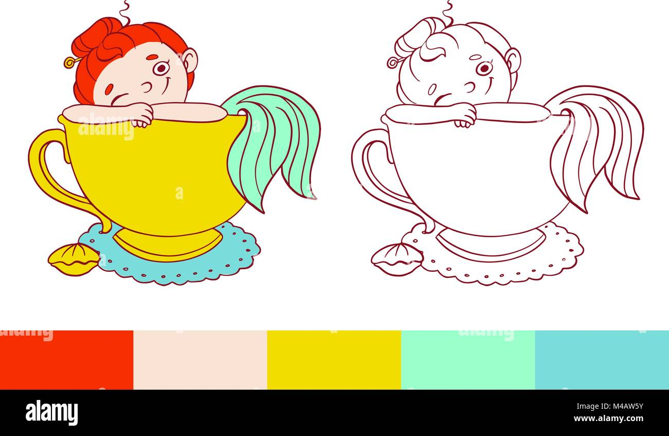 funny mermaid in a cup of tea illustration vector template for