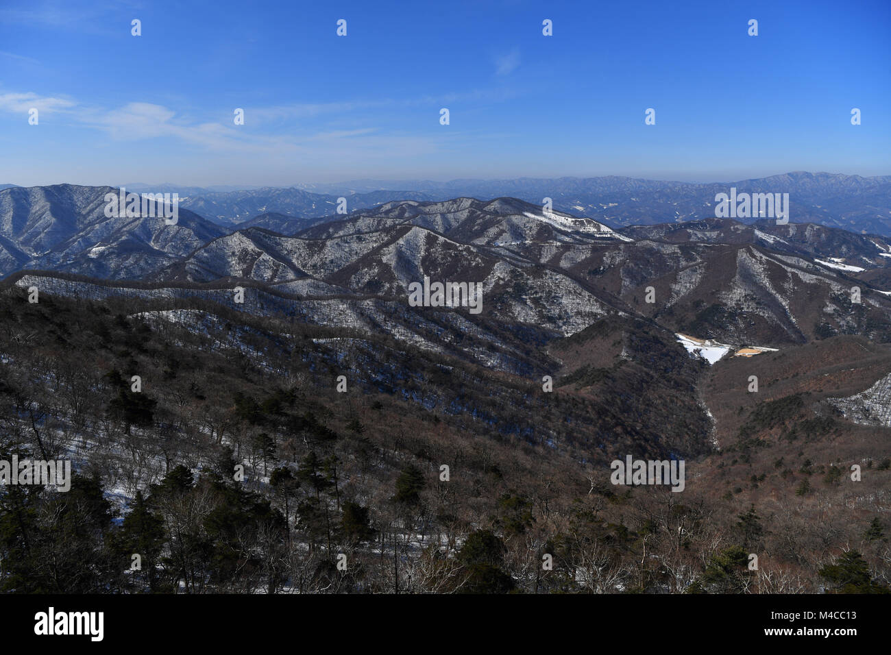 a general view from yongpyong (dragon valley) ski resort in stock
