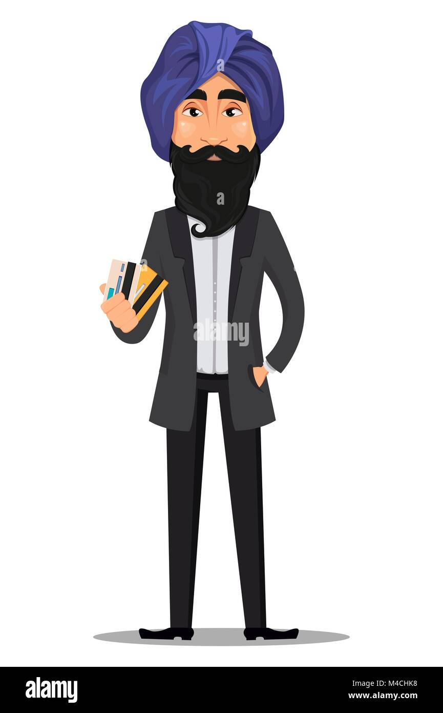 Indian business man cartoon character young handsome businessman indian business man cartoon character young handsome businessman in business suit and turban holding credit cards stock vector reheart Choice Image