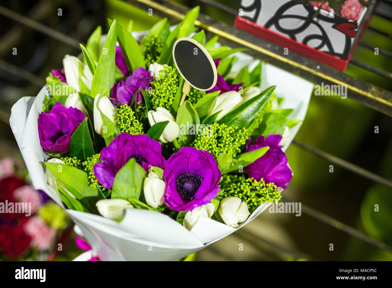 Beautiful Bouquet Of Fresh Flowers In Boxes Florist Service Concept