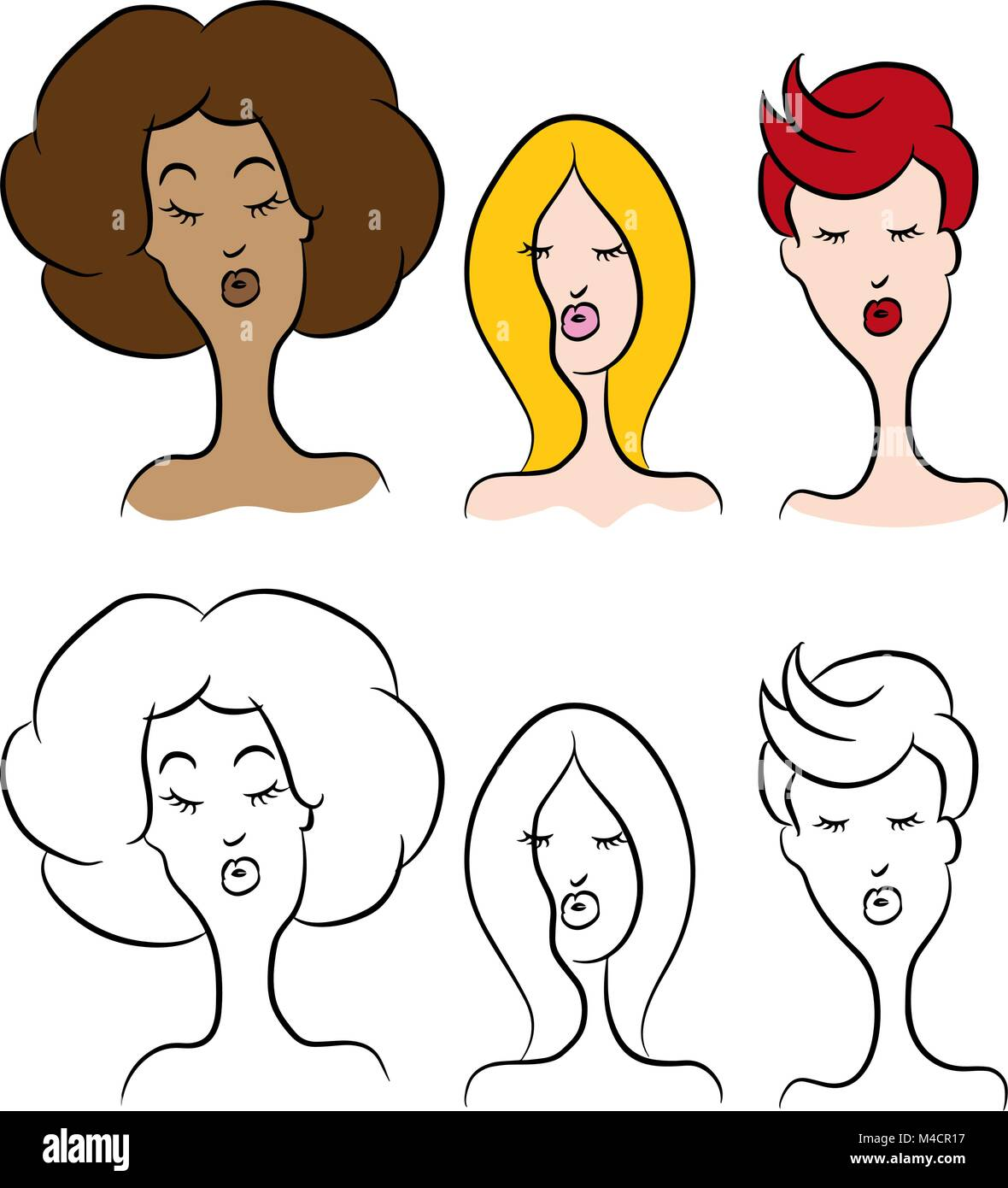 An Image Of Cartoon Women With Different Hairstyles Stock Vector Art
