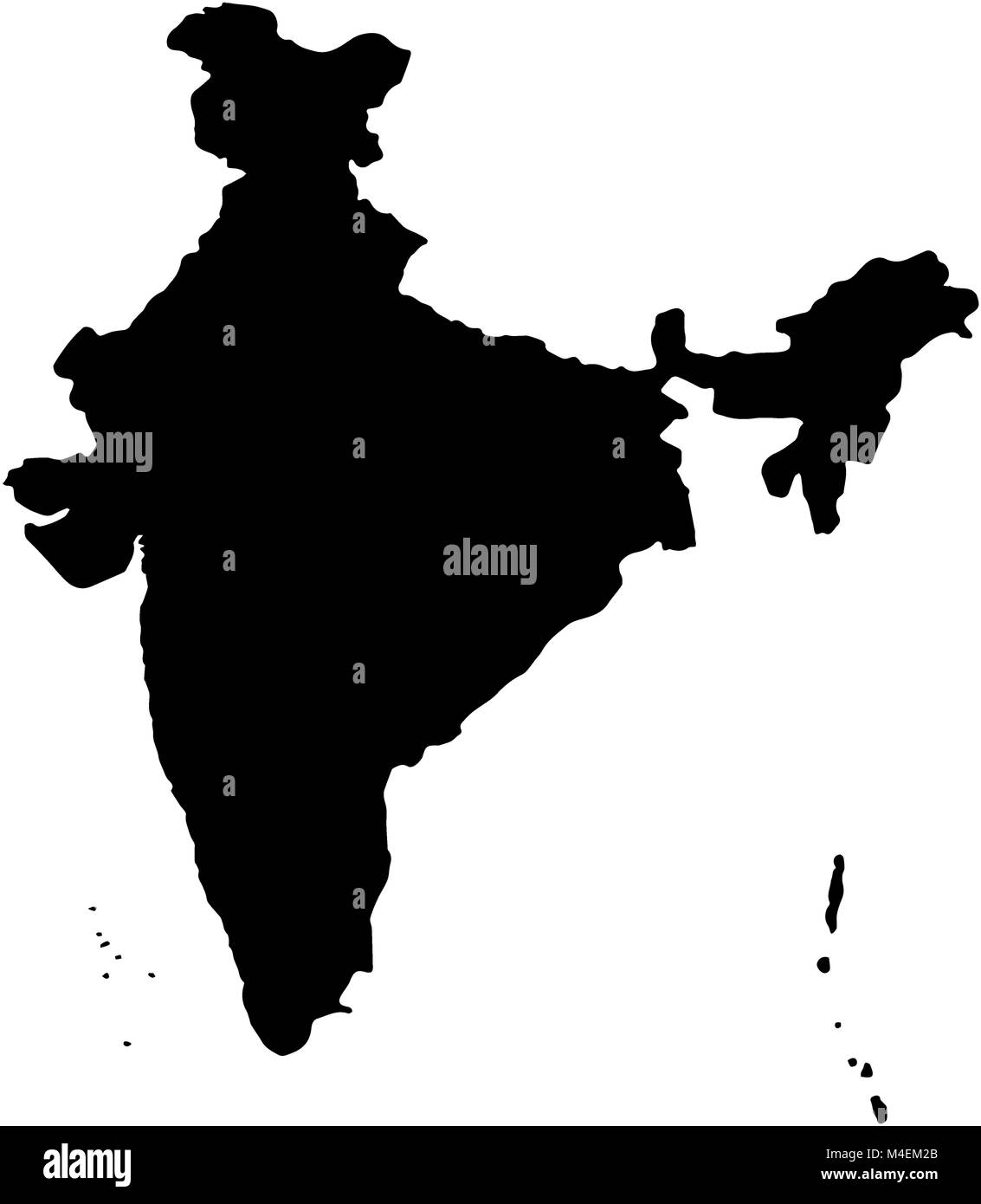 India country Map illustration black Stock Photo: 174885379 - Alamy