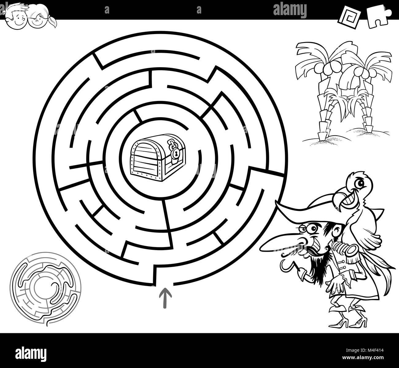 maze with pirate coloring page Stock Photo: 174894752 - Alamy