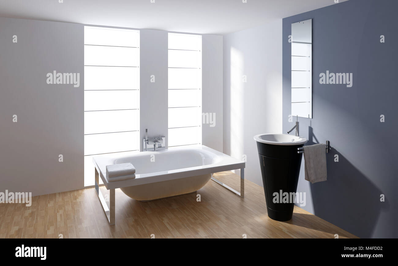 Stylish Designer Bathroom Interior Decor With A Frame Mounted Bathtub And  Cylindrical Hand Basin In Front Pf A Mirror Lit By Bright Windows. 3d Render