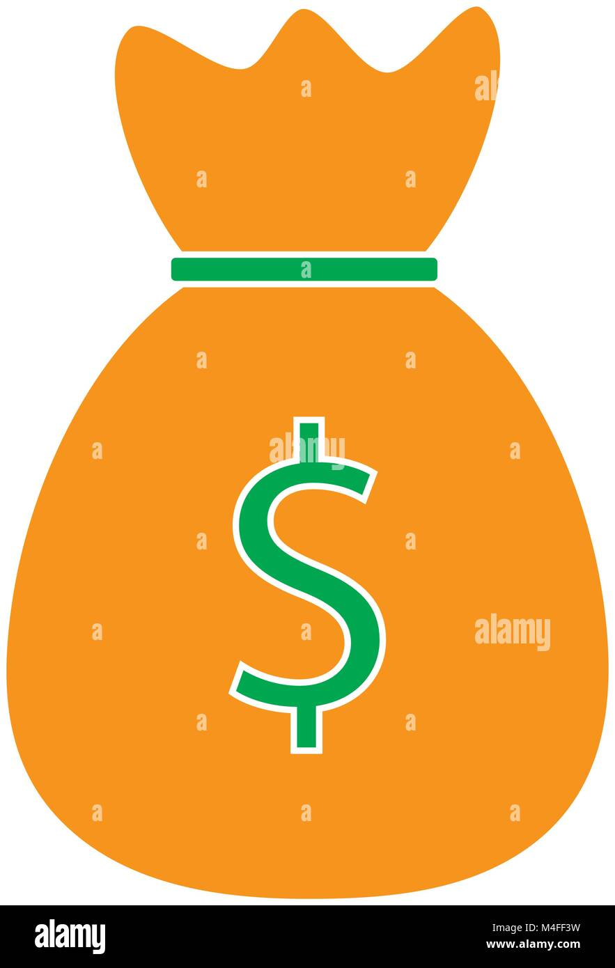 Dollar Currency Icon Or Logo Vector Over A Money Bag Symbol For