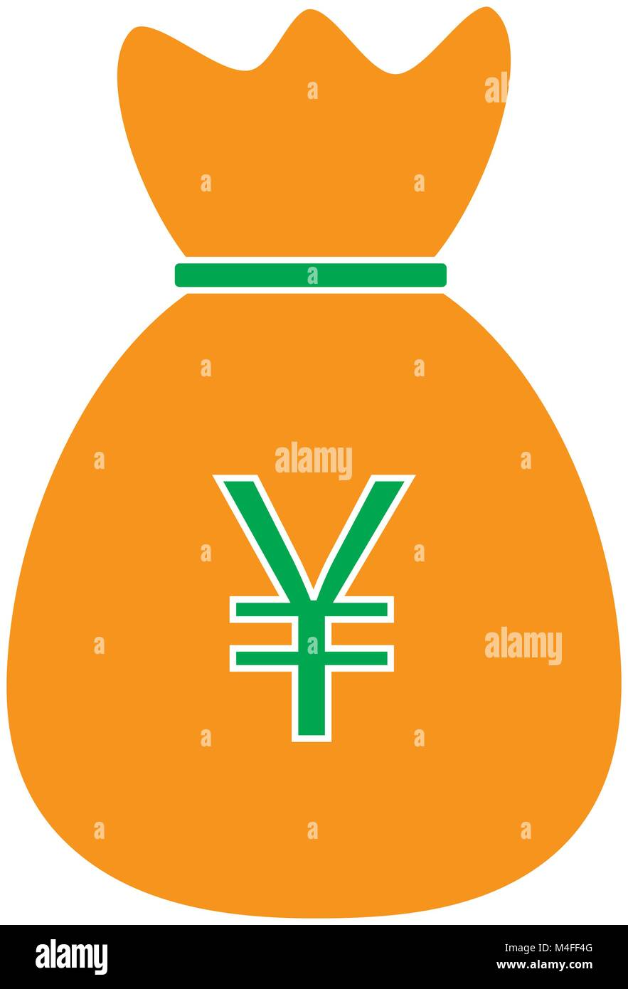 Yen yuan or renminbi currency icon or logo vector over a money yen yuan or renminbi currency icon or logo vector over a money bag symbol for japanese or chinese bank banking or japan and china finances biocorpaavc Choice Image
