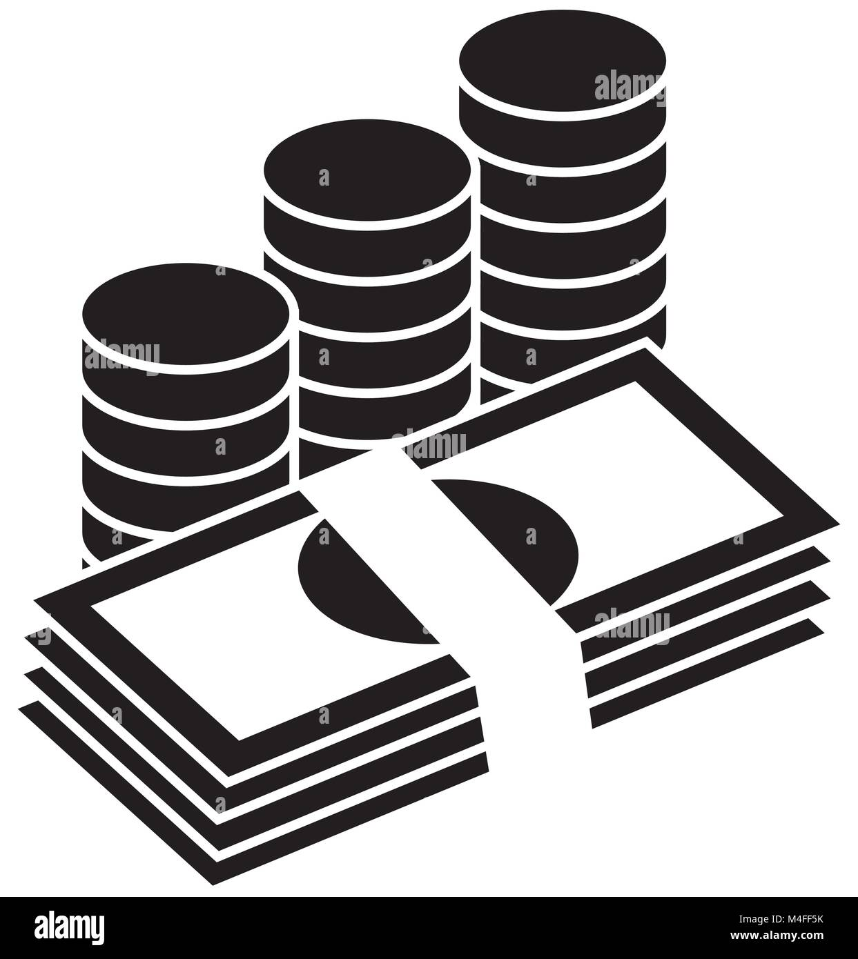 Pile of bank notes or bills and coins stacked currency icon or pile of bank notes or bills and coins stacked currency icon or logo vector symbol for banking or finances biocorpaavc Gallery