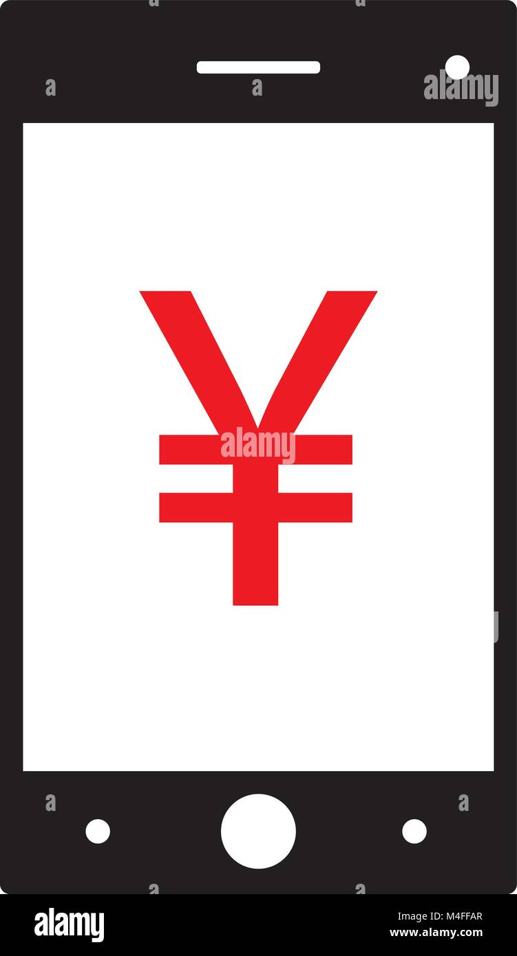 Yen Yuan Or Renminbi Currency Icon Or Logo Vector On A Cell Phone