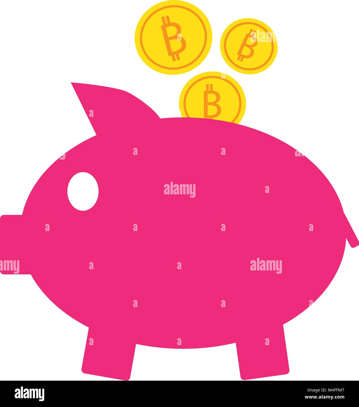 Bitcoin crypto currency icon or vector logo on coins and a piggy bitcoin crypto currency icon or vector logo on coins and a piggy bank symbol for bank or banking on a digital economy with virtual cash and currencie biocorpaavc Gallery