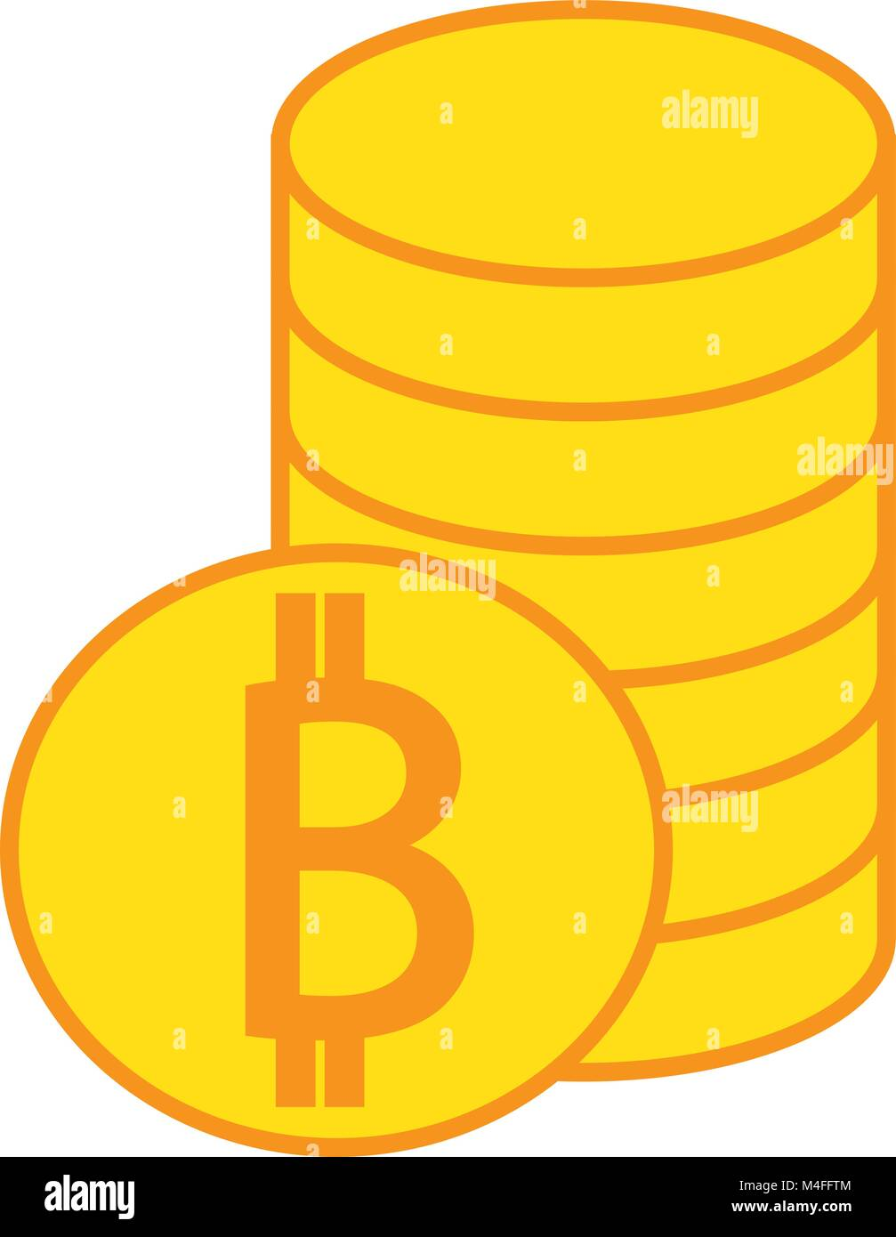 Bitcoin crypto currency icon or logo vector over a pile of coins bitcoin crypto currency icon or logo vector over a pile of coins stack symbol for bank or banking on a digital economy with virtual cash and currenci biocorpaavc Gallery