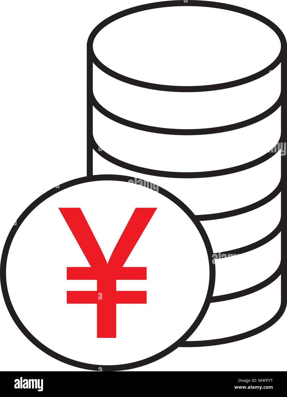 Yen Yuan Or Renminbi Currency Icon Or Logo Vector Over A Pile Of