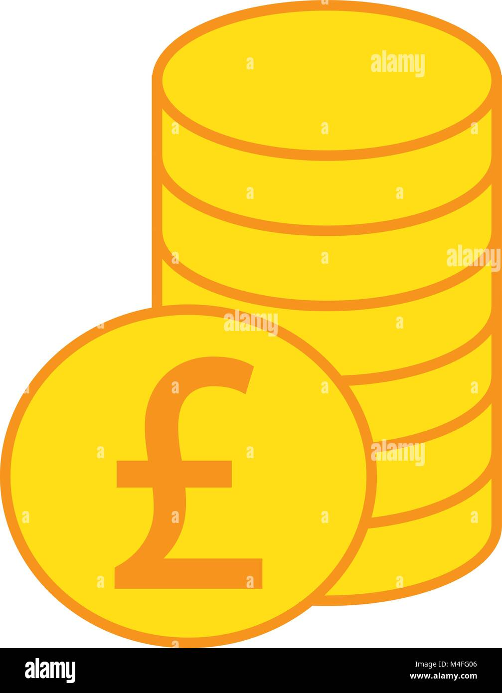 Pound Sterling Currency Icon Or Logo Vector Over A Pile Of Coins
