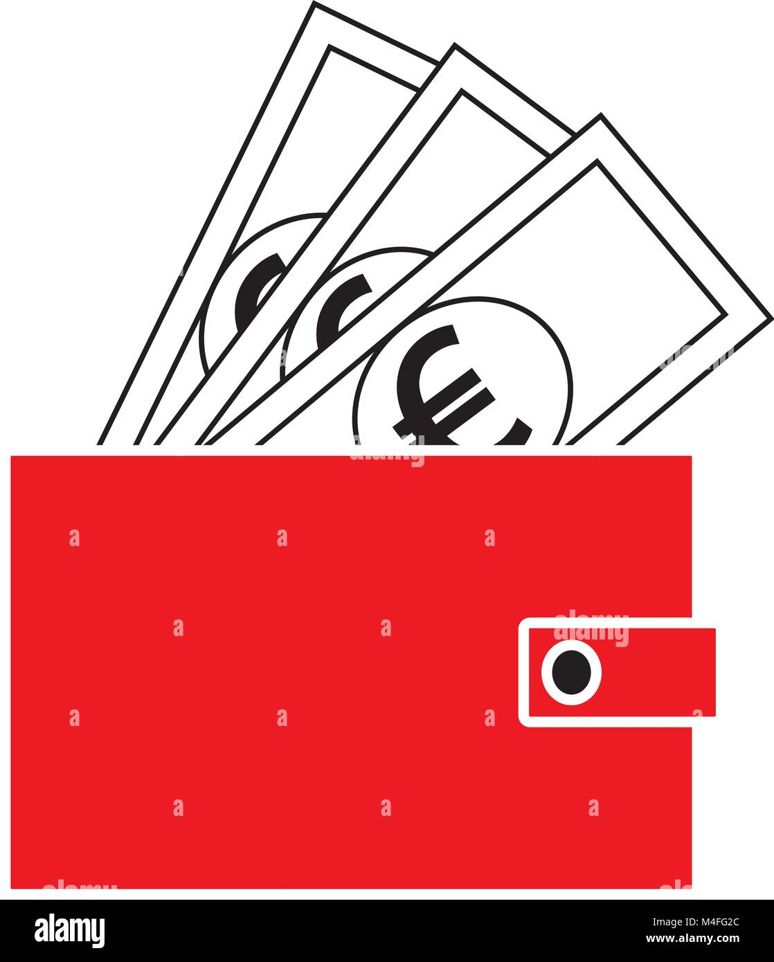 Euro currency icon or logo vector on notes popping out of a wallet euro currency icon or logo vector on notes popping out of a wallet symbol for european union bank banking or europe eurozone finances biocorpaavc Gallery