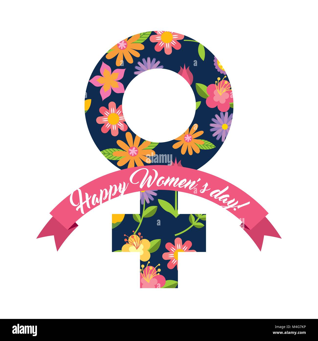 Female Gender Symbol Floral Happy Womens Day Card Ribbon Stock