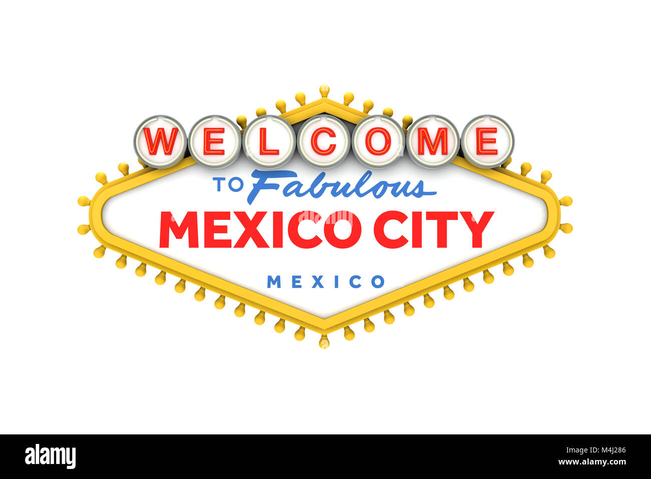 Welcome To Mexico City Sign In Classic Las Vegas Style Design 3d