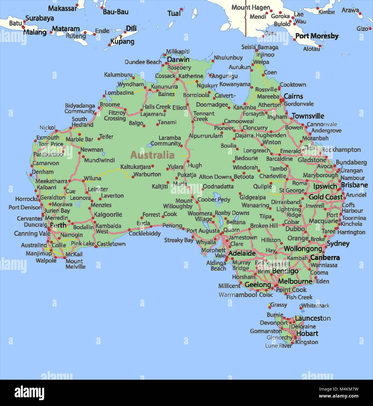 Map Of Australia Roads.Map Of Australia Shows Country Borders Place Names And Roads Stock