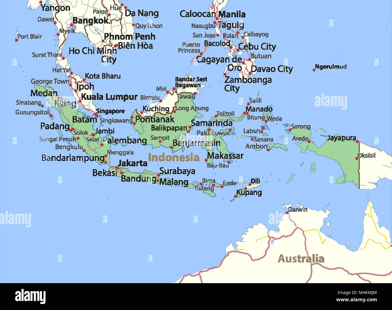 Map of indonesia stock photos map of indonesia stock images alamy map of indonesia shows country borders place names and roads labels in english gumiabroncs Choice Image