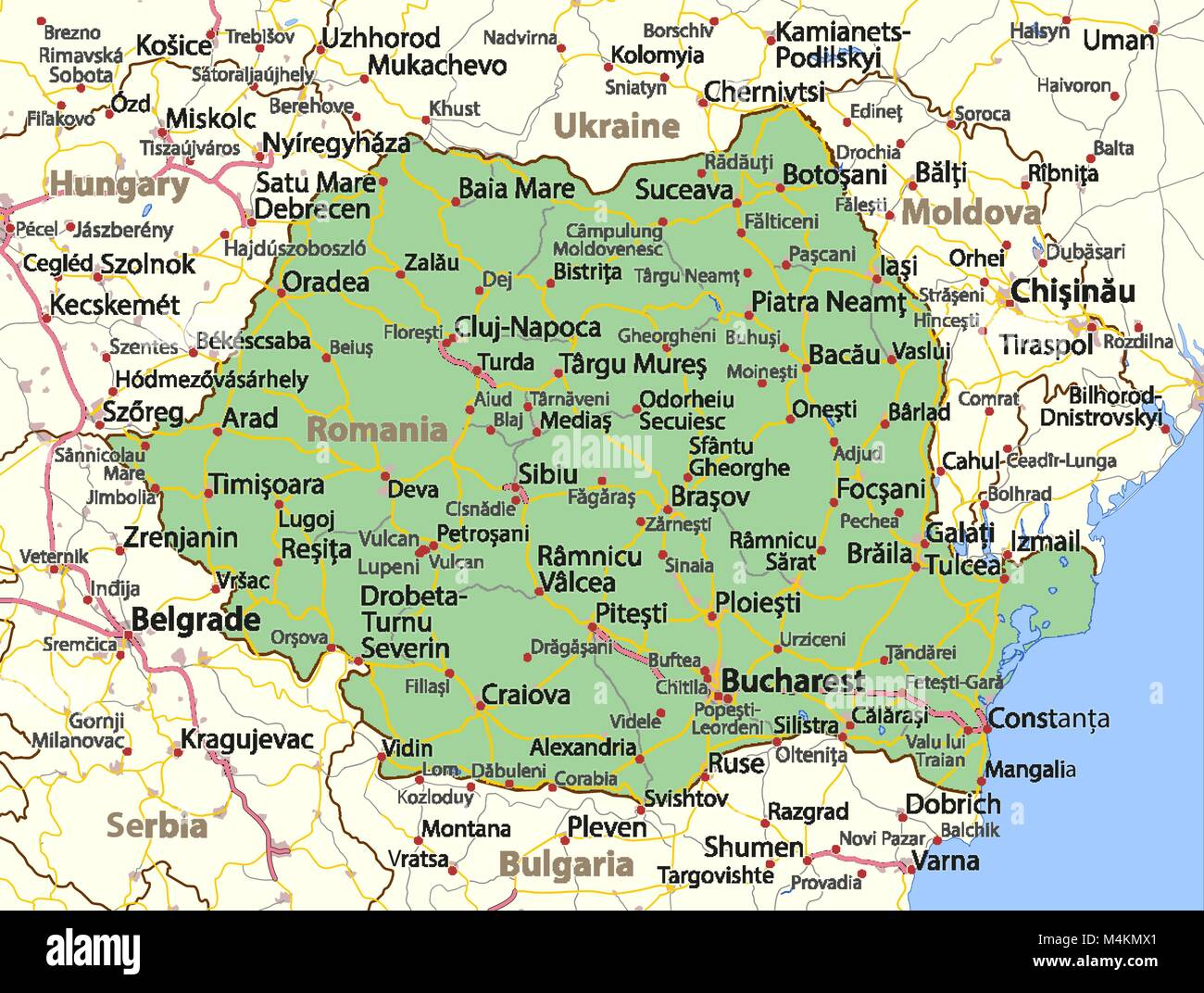 Map of Romania. Shows country borders, urban areas, place names and ...