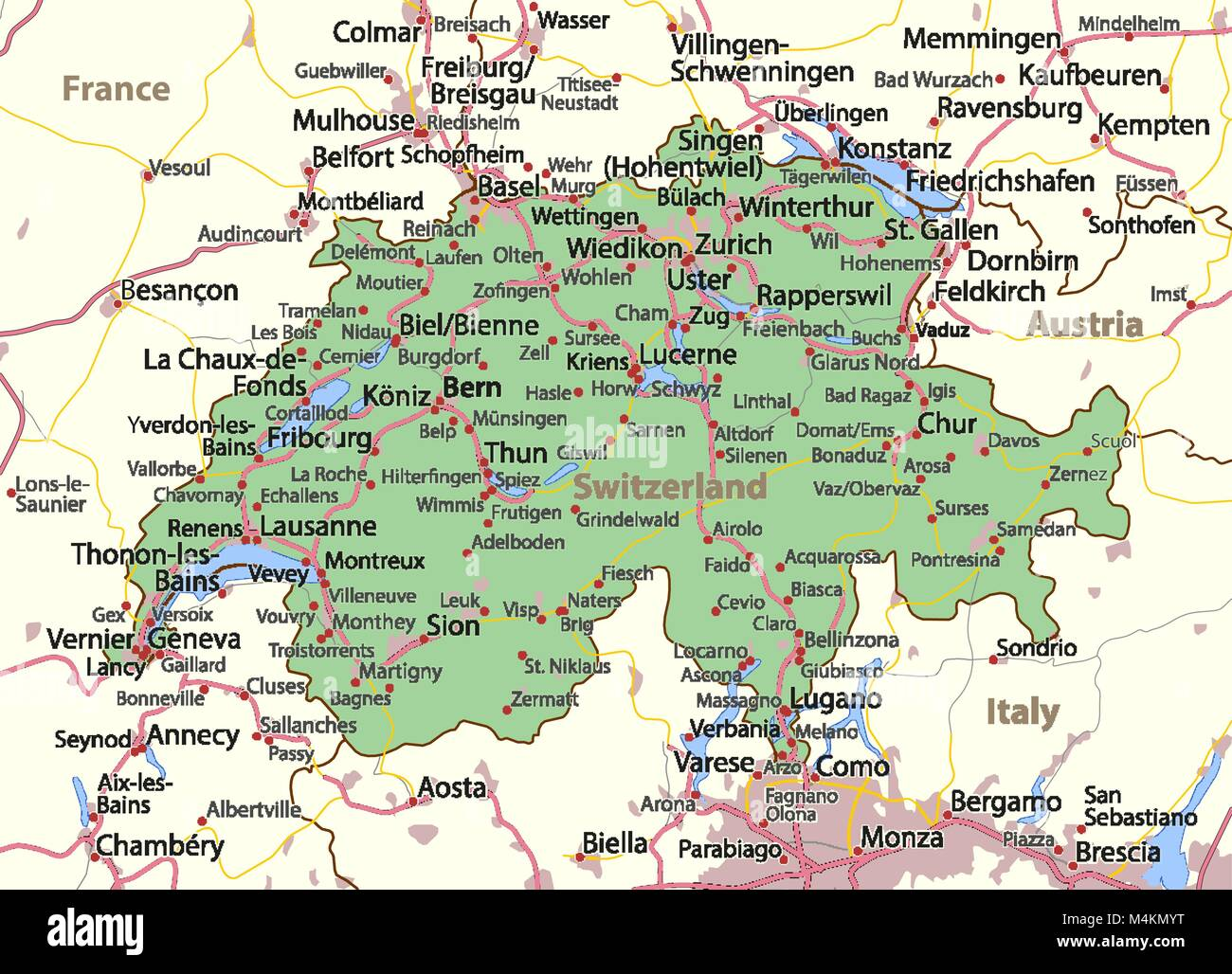 Map of Switzerland. Shows country borders, urban areas, place names ...