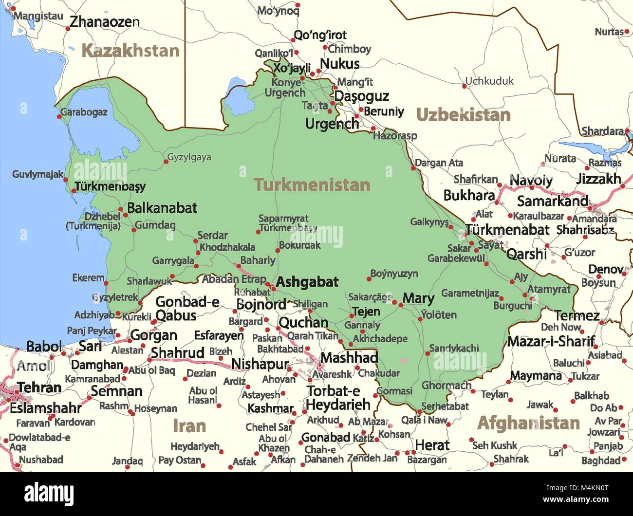 Turkmenistan stock vector images alamy map of turkmenistan shows country borders urban areas place names and roads sciox Image collections