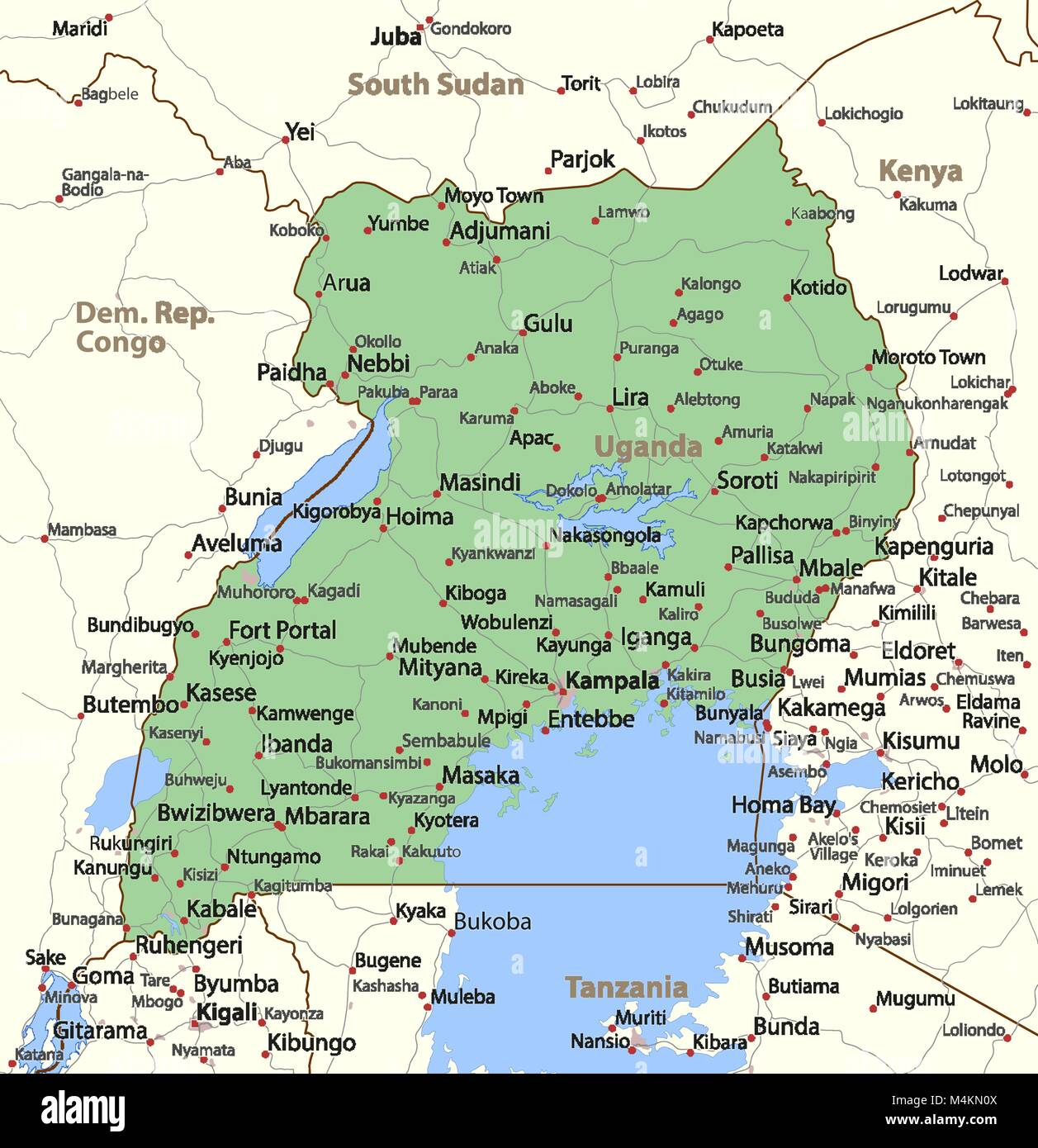 Outline map country uganda stock photos outline map country map of uganda shows country borders urban areas place names and roads gumiabroncs Choice Image