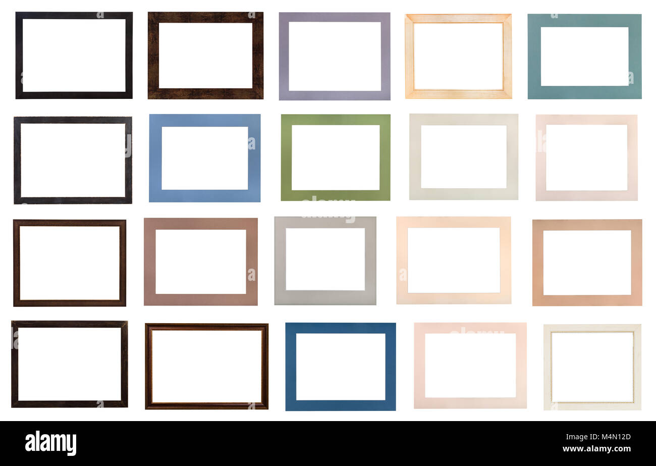 set of modern flat wooden picture frames and various passe-partout ...