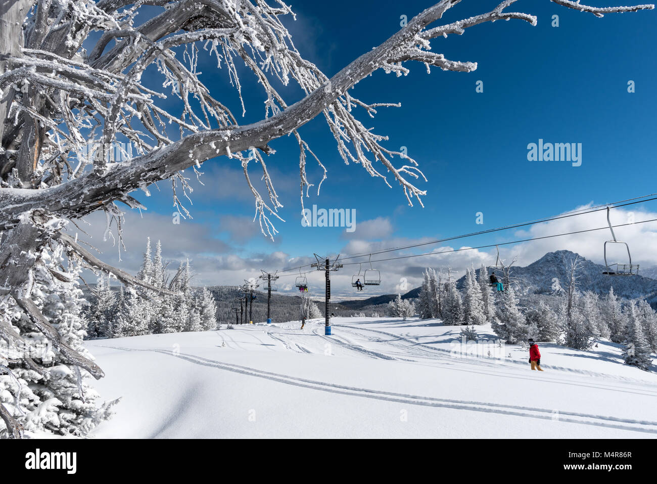 snowboarders and chairlift at anthony lakes mountain resort in stock