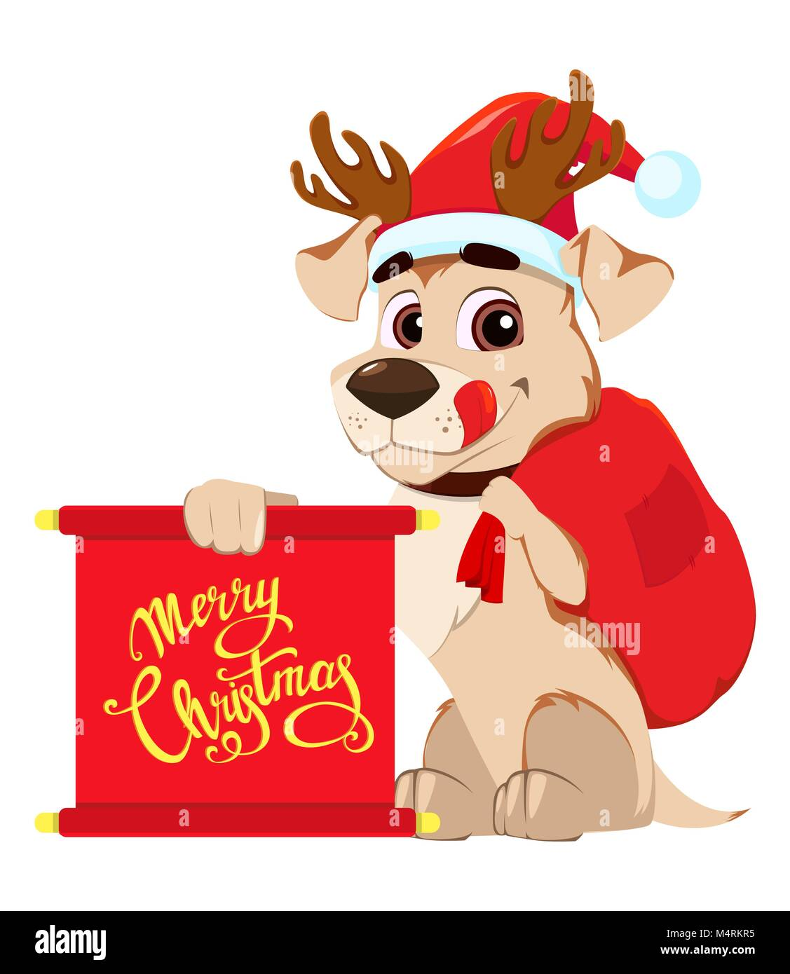 Merry christmas greeting card funny dog wearing santa claus hat and merry christmas greeting card funny dog wearing santa claus hat and deer antlers and holding scroll with greetings and bag with gifts vector illustr m4hsunfo
