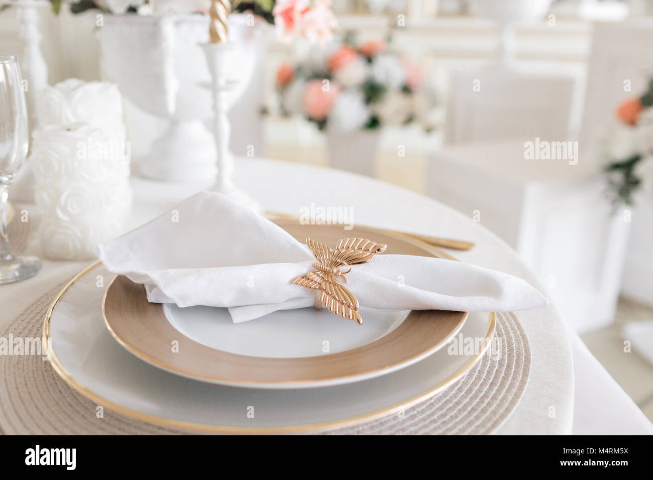 Close Up Layout Of The Festive Table. Decorated Table And Chairs For A  Festive Dinner. Luxury Decor With Daylight. Modern Photographic Studio.