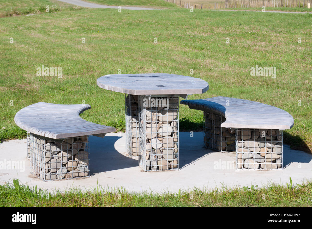 Stone Picnic Table And Seating Stock Photo Alamy - Stone picnic table