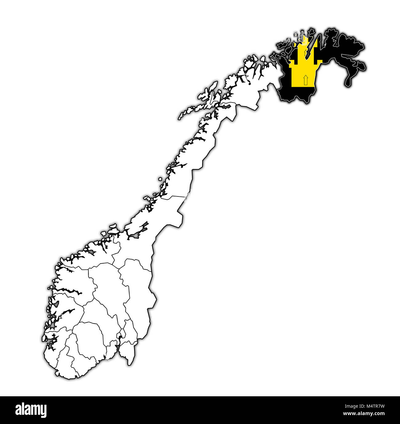 emblem of Finnmark county on map with administrative divisions and