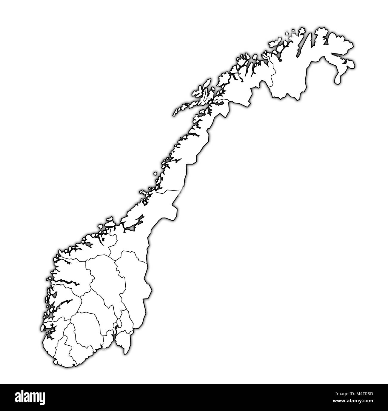 administrative divisions and borders on map of norway over whitel