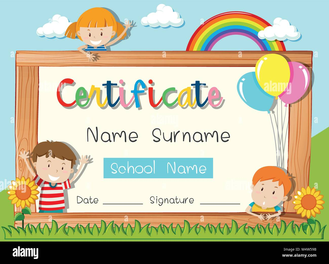 Certificate Template With Three Kids In Park Illustration Stock