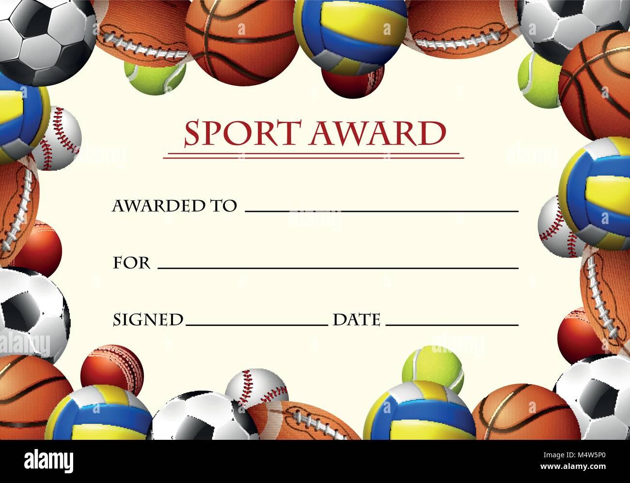 certificate template for sport award illustration stock vector art