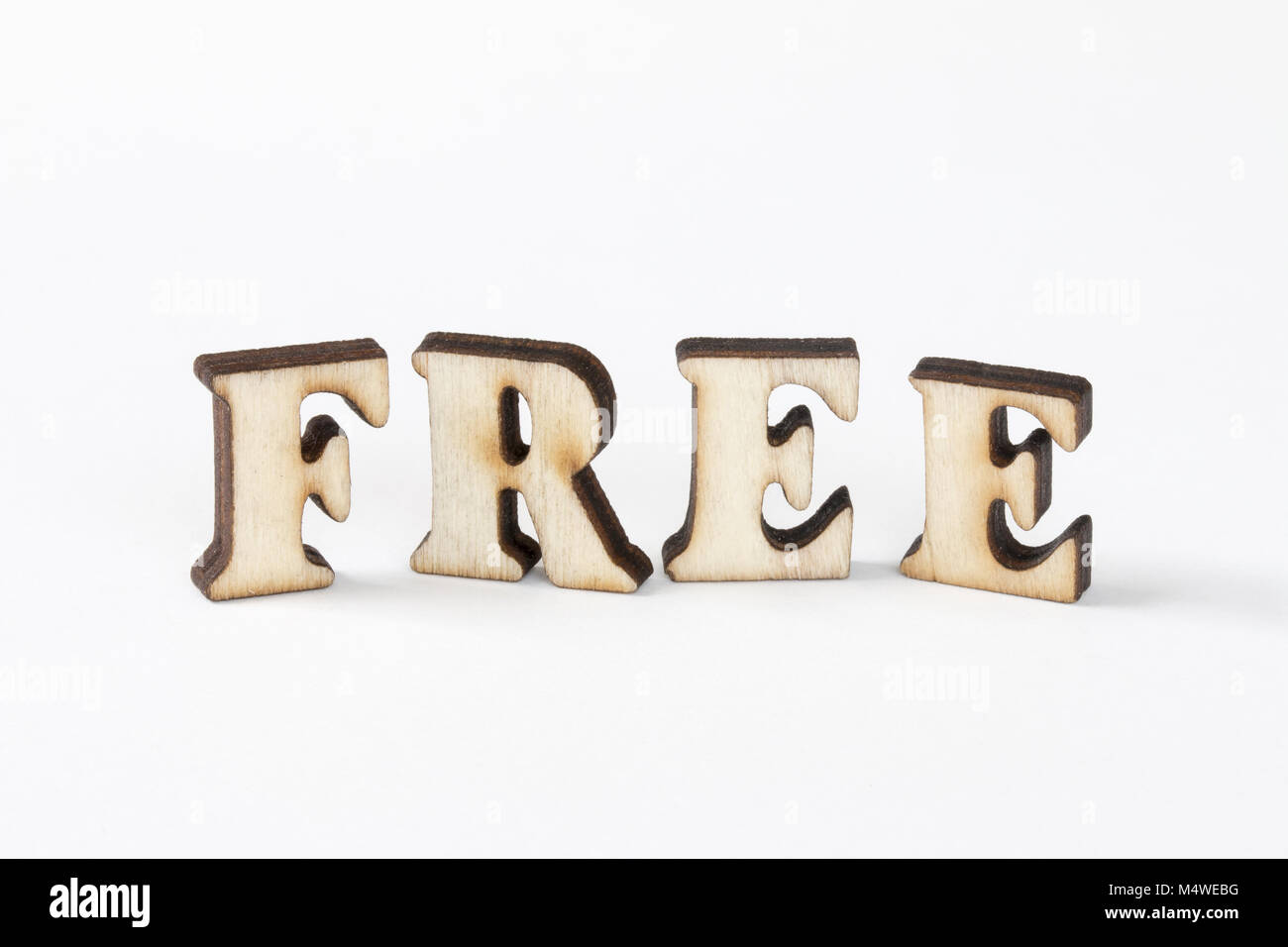 free wood letters free on white background stock photo 175122404