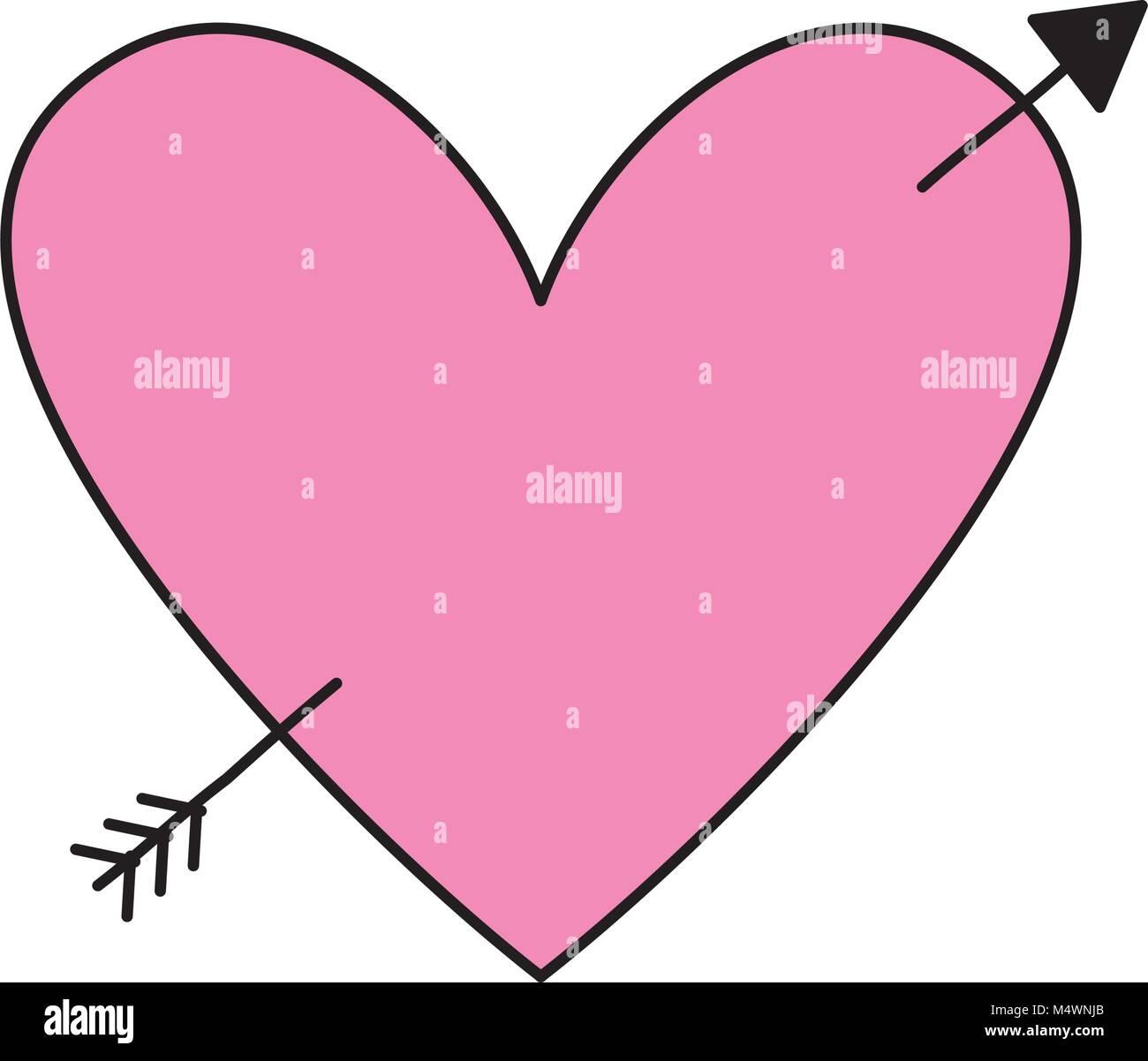 Love Heart Pierced Arrow Valentine Day Romantic Stock Vector Art