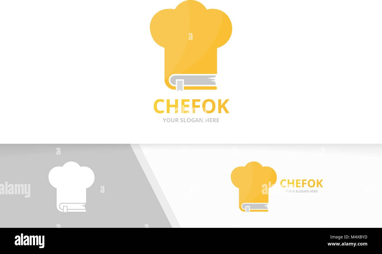 vector book and chef hat logo combination kitchen and market symbol