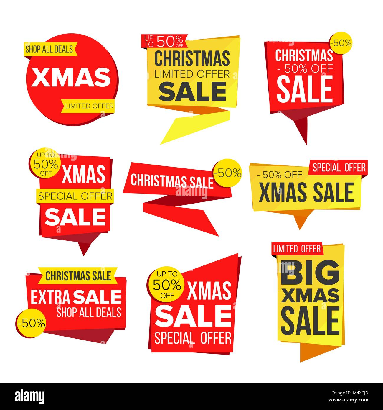 christmas sale banner set vector discount tag special xmas offer