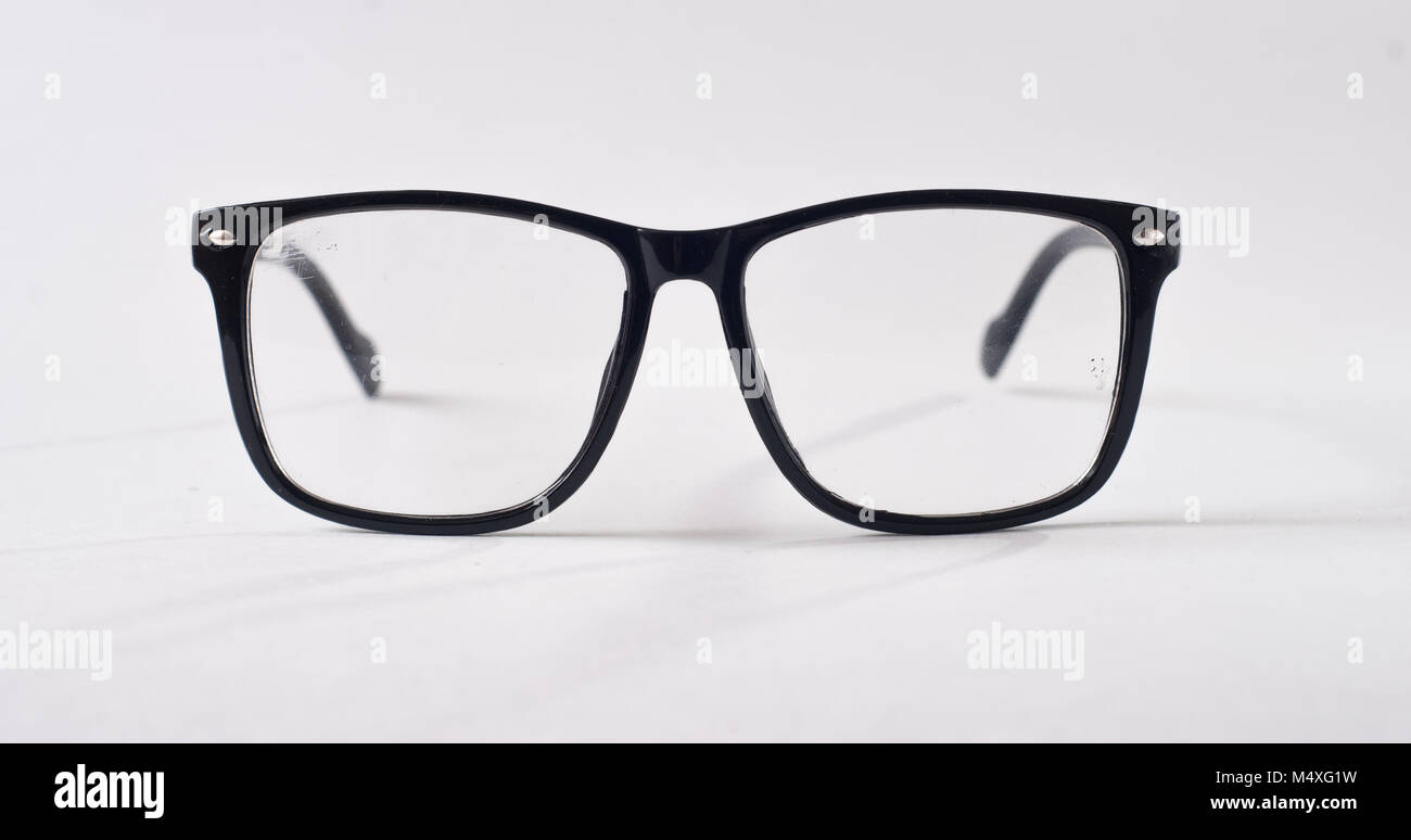 black glasses on a white background hipster style plastic frames
