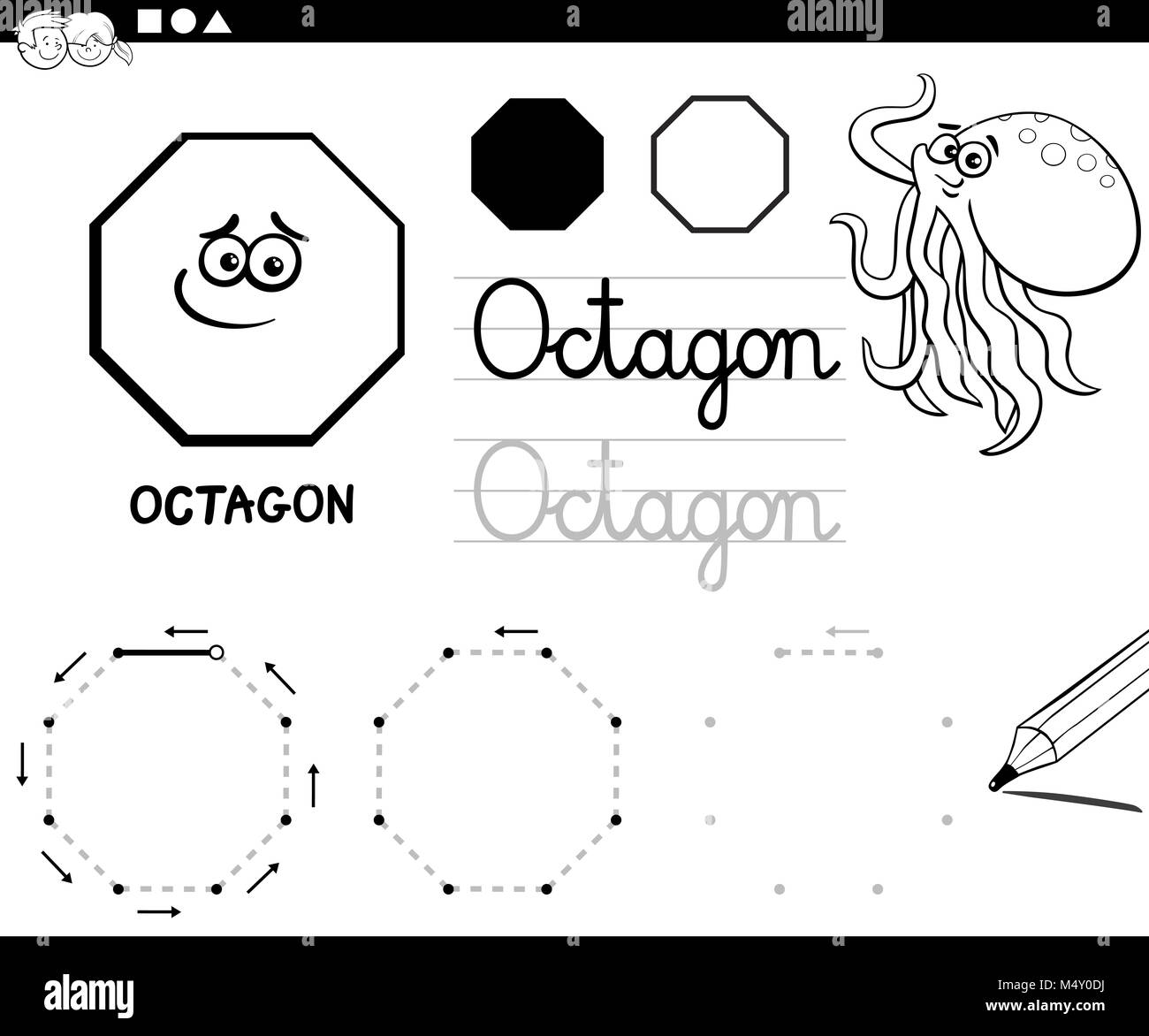 octagon basic geometric shapes coloring page Stock Photo: 175155390 ...