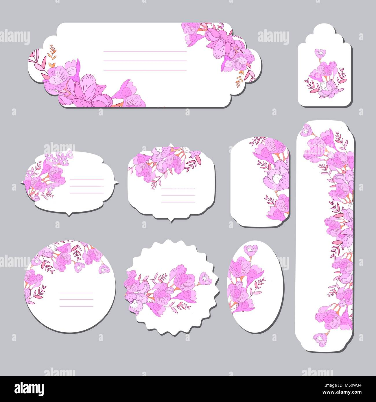 floral spring templates with cute flowers for romantic and easter