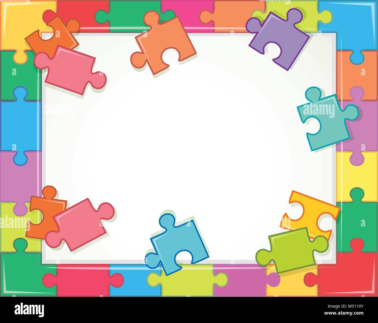 Frame template with jigsaw puzzle pieces illustration Stock Vector ...