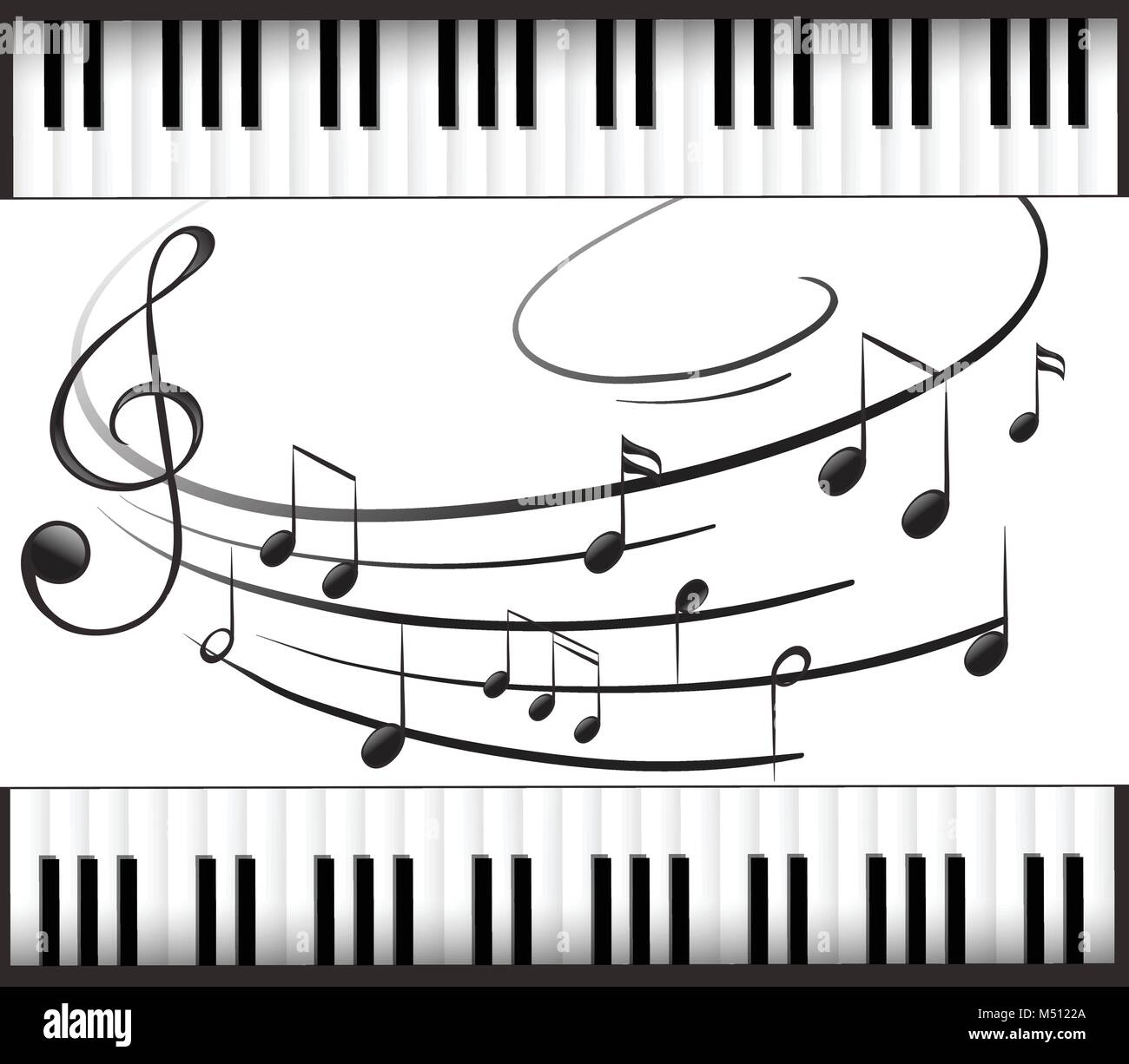 Background template with piano keyboard and music notes illustration ...