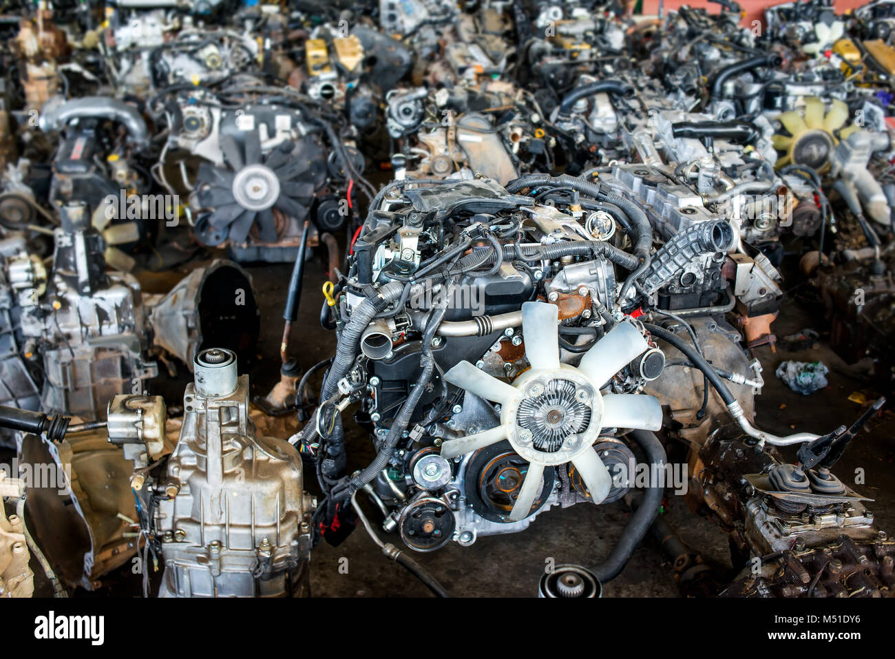 Used and old car engine in the recycle garage for sale photo with ...