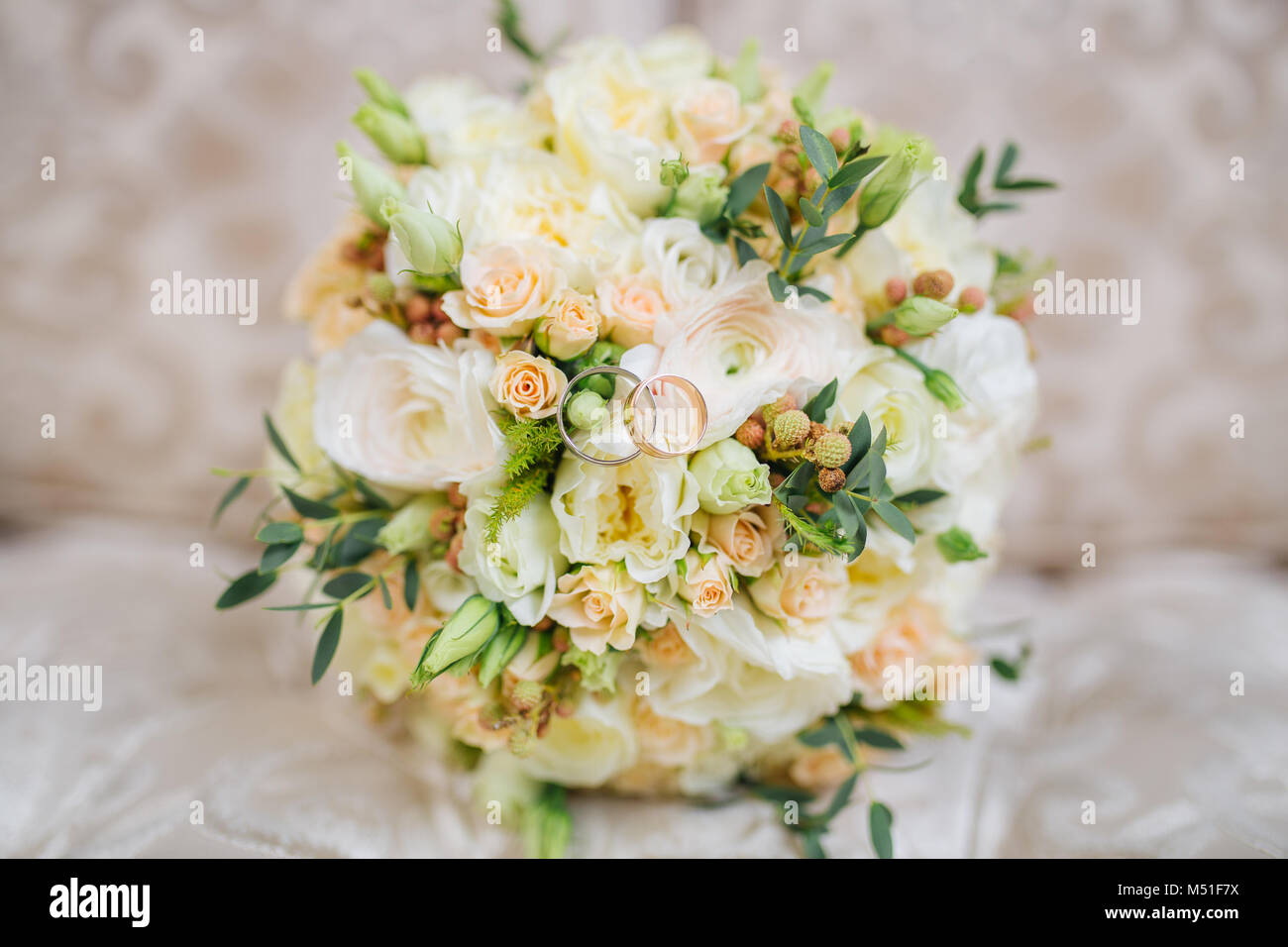 Wedding Bouquet Of Fresh Flowers Lies On The Couch Stock Photo ...